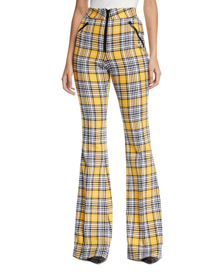 Veronica Beard Fraser Plaid Flare-Leg Zip-Front Trousers