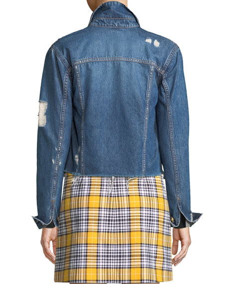 Veronica Beard Cara Distressed Cropped Jean Jacket w/ Gold Chain