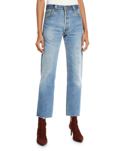 High-Rise Whiskered Stovepipe Jeans with Raw-Edge Hem