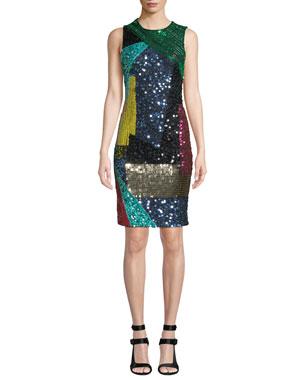 f3996fa729 Alice + Olivia Nat Embellished Mid-Length Fitted Dress