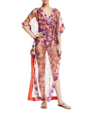 515447a5c33 Chiara Boni La Petite Robe Naia Floral-Print Organza Long Coverup Kaftan.  Favorite