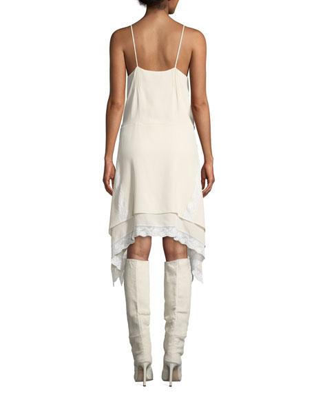 Iro Gift V-Neck Spaghetti-Strap Lace Trim Handkerchief Dress