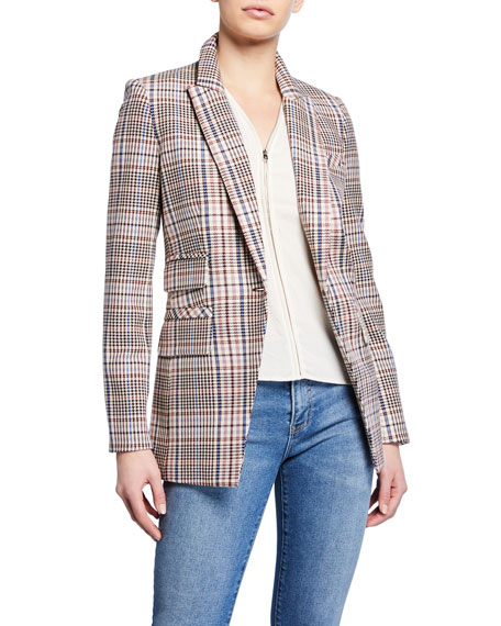 Veronica Beard Fuller Check Single-Button Dickey Jacket