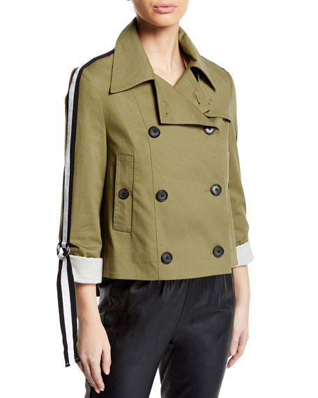 Veronica Beard Mert Cropped Jacket with Belted Sleeves