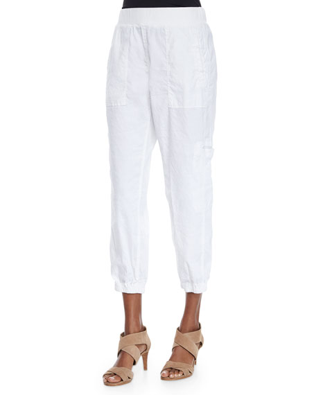 Eileen Fisher Plus Size Cargo Linen-Blend Ankle Pants
