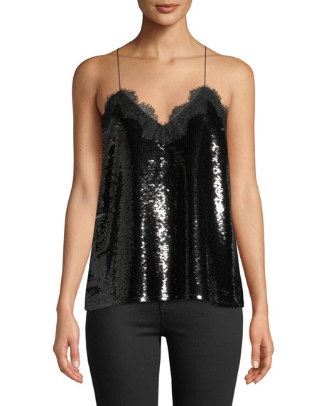 Image 1 of 5: Cami NYC The Racer Sequin Camisole with Lace Trim