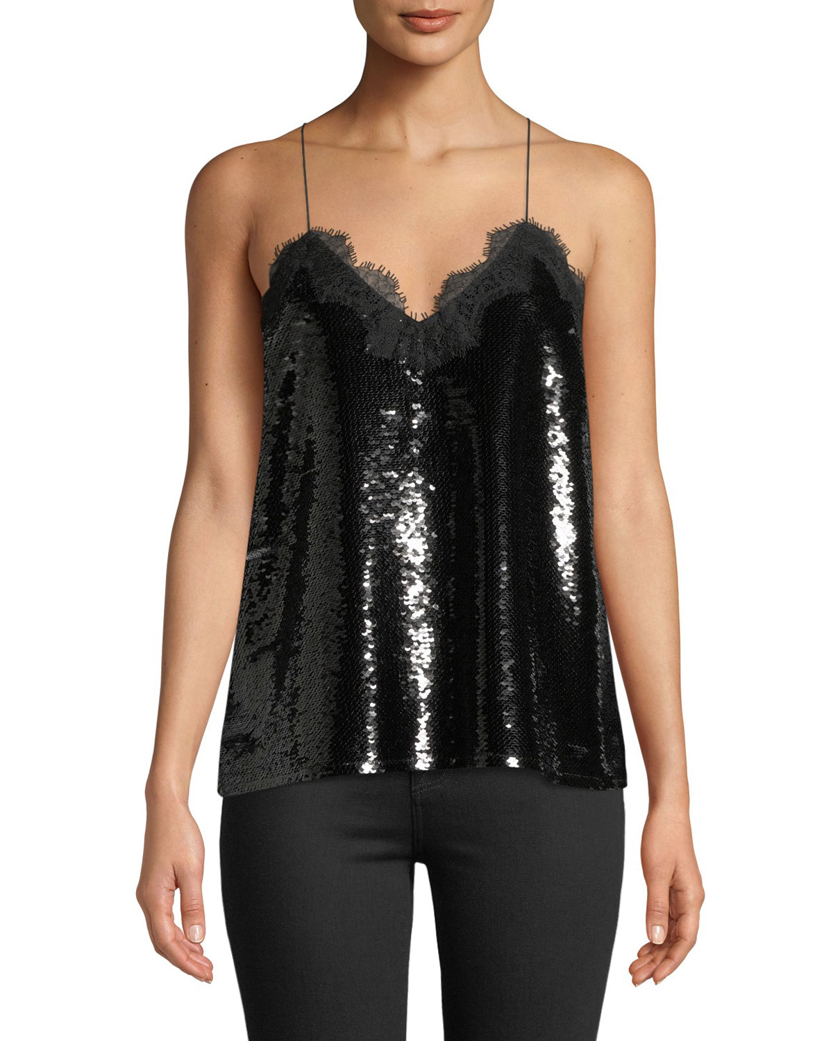 Cami NYC The Racer Sequin Camisole with Lace Trim