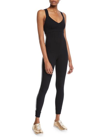 NO KA'OI Laiki Cross-Back Active Jumpsuit in Black