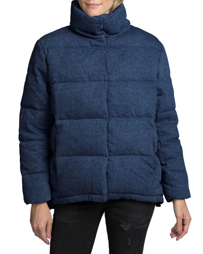 Quilted Denim Swing Puffer Jacket