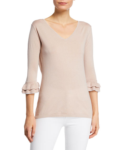 Neiman Marcus Cashmere Collection Cashmere & Metallic Trim V-Neck 3/4 Ruffle-Sleeve Sweater Top