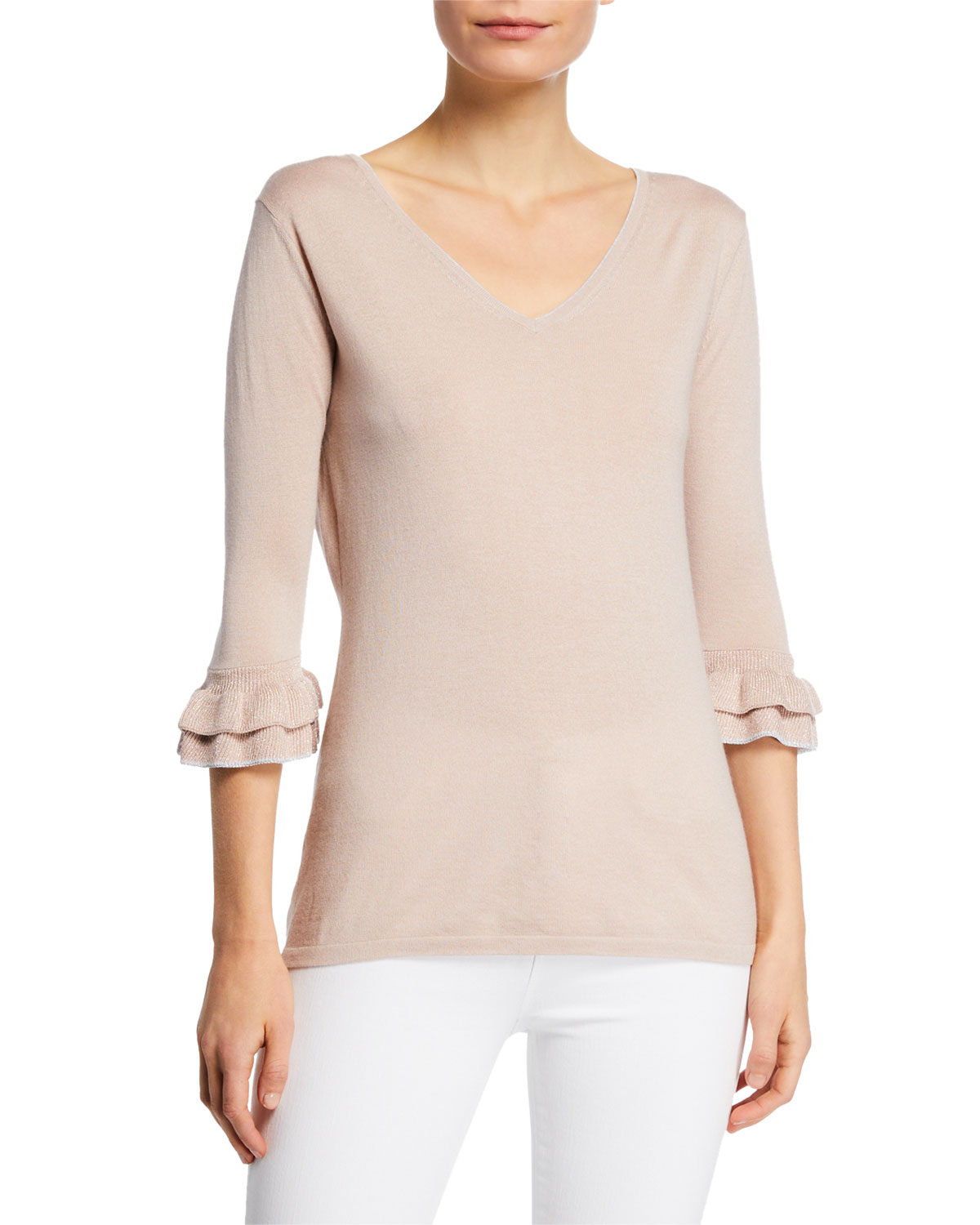 Neiman Marcus Cashmere Collection Cashmere Boatneck: Neiman Marcus Cashmere Collection Cashmere & Metallic Trim