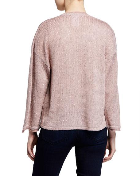 Neiman Marcus Cashmere Collection Cashmere-Blend & Sequin Kimono-Sleeve Cardigan