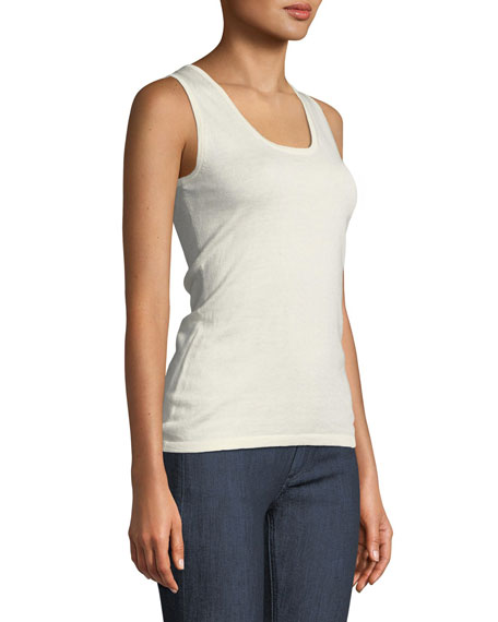 Superfine Cashmere-Blend Scoop-Neck Tank