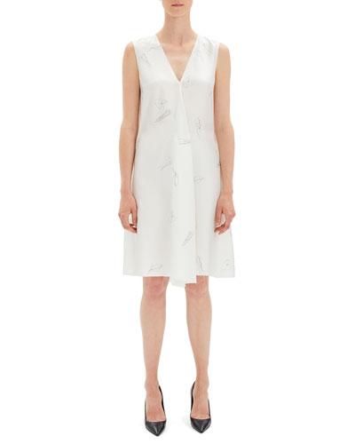 Abstract Printed V-Neck Twill Short Dress