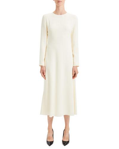 Textured Viscose Cady A-Line Long-Sleeve Dress