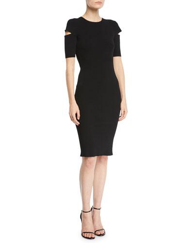 Slash Short-Sleeve Crewneck Dress