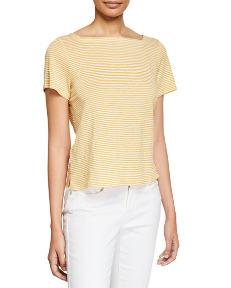 Eileen Fisher Square-Neck Short-Sleeve Striped Jersey Linen Tee,