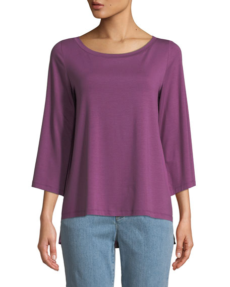 Eileen Fisher Boat-Neck 3/4-Sleeve High-Low Jersey Top