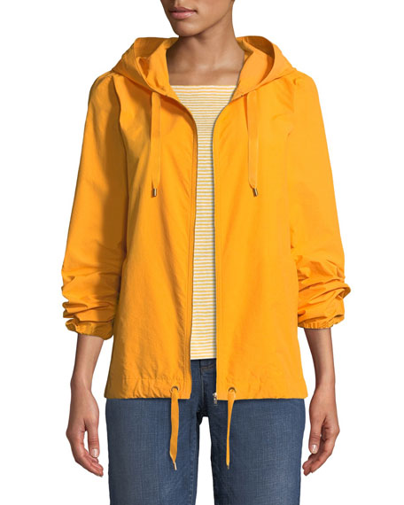 Eileen Fisher Hooded Zip-Front Long-Sleeve Cotton-Blend Jacket,
