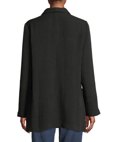 Eileen Fisher Long-Sleeve One-Button Double-Breasted Silk Sponge Blazer