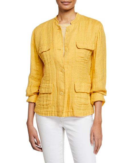 Eileen Fisher Plus Size Button-Front Double-Weave Cotton Jacket w/ Pockets