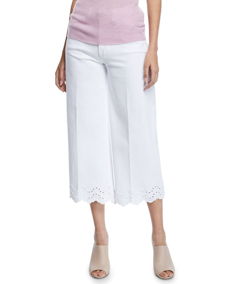 FRAME Schiffly Vintage High-Rise Cropped Jeans with Eyelet Hem