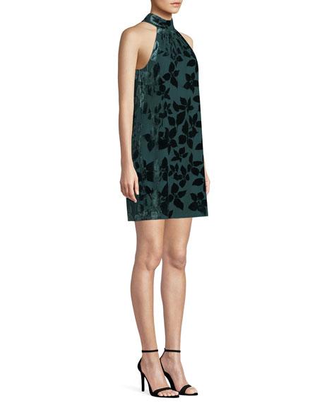 Trina Turk Spree Velvet Burnout Halter Dress