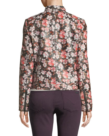 Neiman Marcus Leather Collection Cherry Blossom Center-Zip Leather Jacket