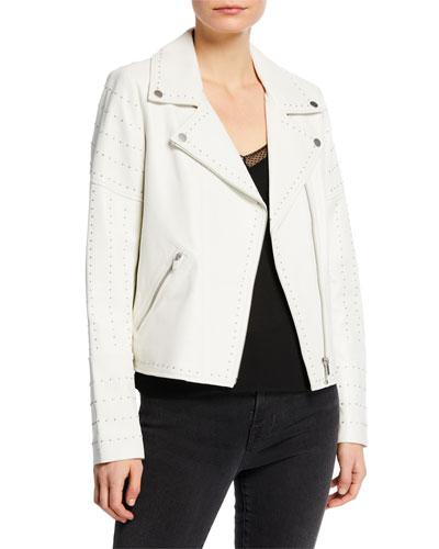 Zip-Front Studded Lamb Leather Moto Jacket