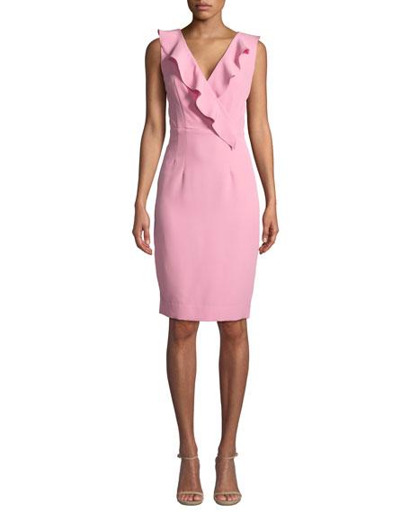 Milly Luna Italian Cady Sleeveless Dress W Ruffled V Neck