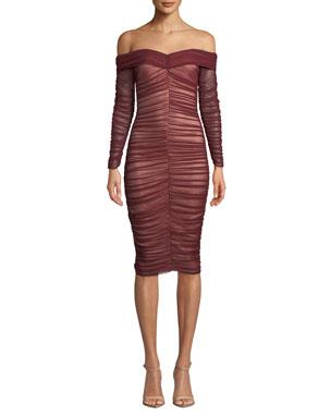 762c33c09ce Ryse Zuri Shirred Tulle Off-Shoulder Cocktail Dress