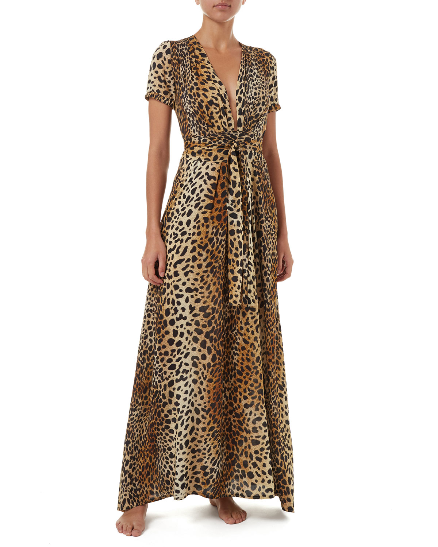 22aa124e65 Melissa Odabash Lou Cheetah-Print Belted Short-Sleeve Maxi Dress ...