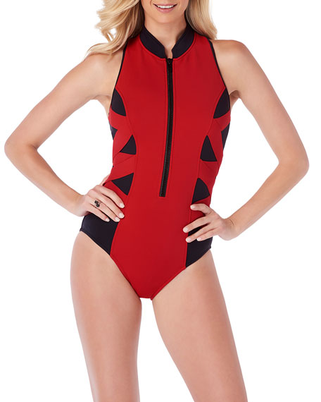 Magicsuit Blake Scuba Zip-Front One-Piece Swimsuit