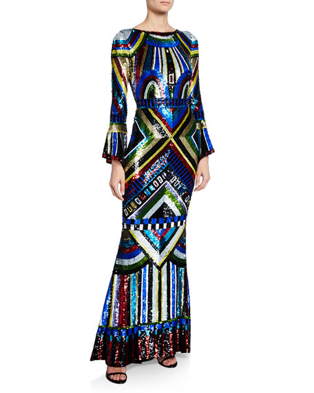 Alice + Olivia Jae Embellished Keyhole-Back Long Gown