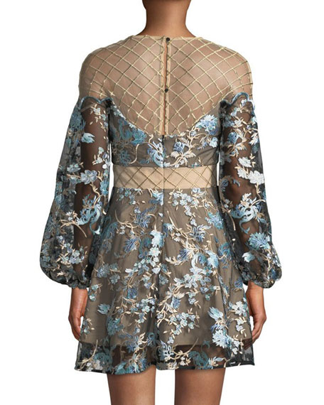 Elliatt Diana Lattice Mesh-Yoke Floral Dress