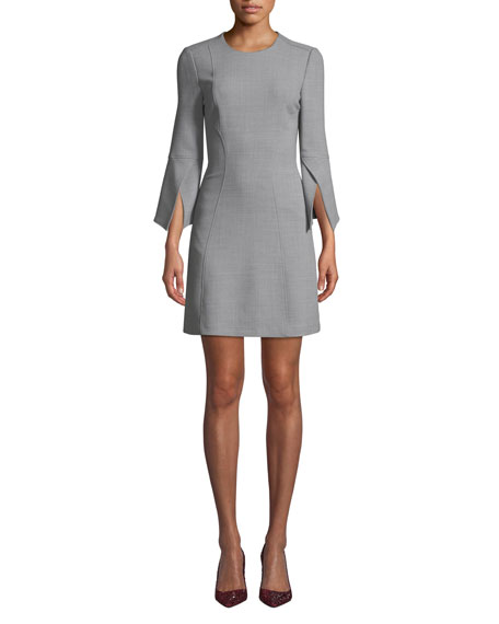 Image 1 of 3: Badgley Mischka Collection Split-Sleeve Mini Dress