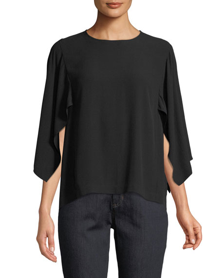 Eileen Fisher Cape-Sleeve Silk Top