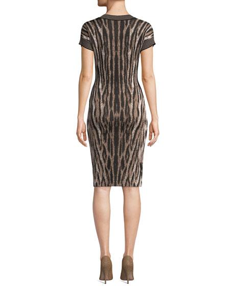 NK32 Naeem Khan V-Neck Short-Sleeve Animal-Print Cocktail Dress