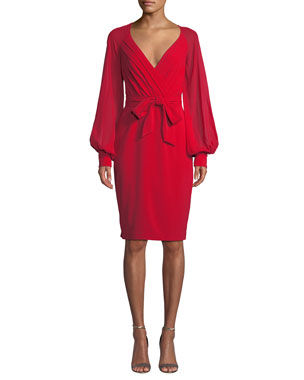 0e4e1d29da7 Badgley Mischka Collection V-Neck Blouson-Sleeve Faux-Wrap Cocktail Dress
