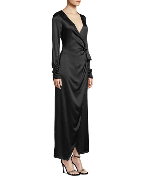 dd5244d624aaa Donna Mizani Austen Long-Sleeve Maxi-Length Wrap Dress