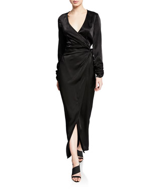 bc4ffa8994 Donna Mizani Austen Long-Sleeve Maxi-Length Wrap Dress