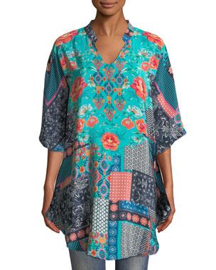 adc09d47d53 Tolani Plus Size Belle V-Neck 3/4-Sleeve Mixed-Print Silk