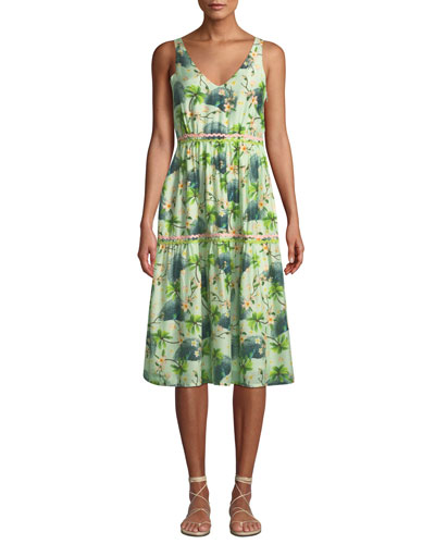 Printed V-Neck Tiered Dress with Rickrack Detail