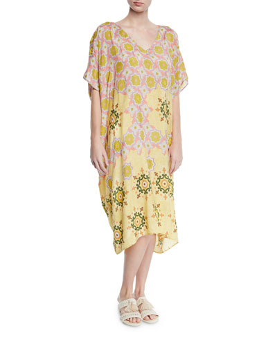 Hand-Beaded Printed Coverup Kaftan Dress