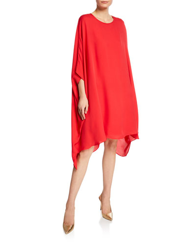 Scoop-Neck 3/4-Sleeve Draped Silk Georgette Dress