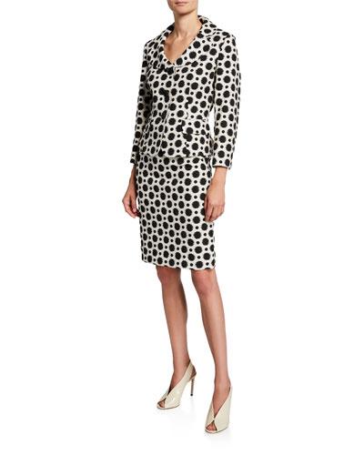 Polka-Dot Two-Piece Jacket & Skirt Suit Set