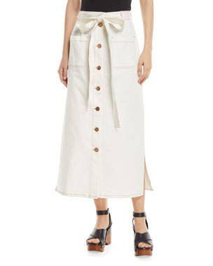 953bfa7f60 See by Chloe Button-Front Midi Skirt with Pockets