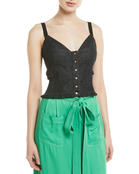 See by Chloe Snap-Front Chambray Bustier Top