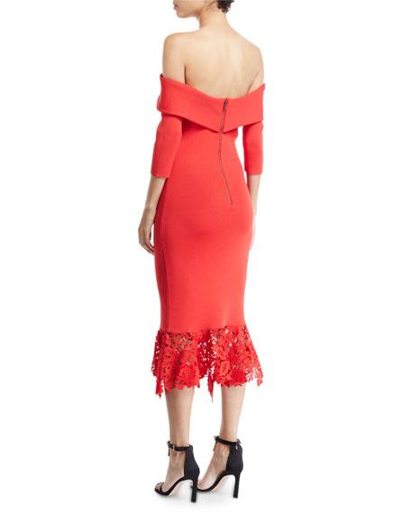 Sachin & Babi Relais Off-the-Shoulder Flounce Lace Hem Dress