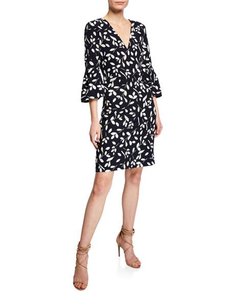 Sachin & Babi Tamaris V-Neck Bell-Sleeve Print Dress